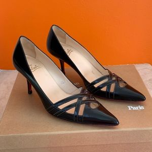 Christian Louboutin Leather Pointy Toe Pumps 37.5